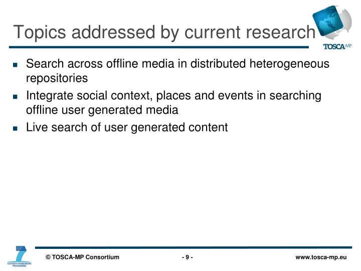 Topics addressed by current research