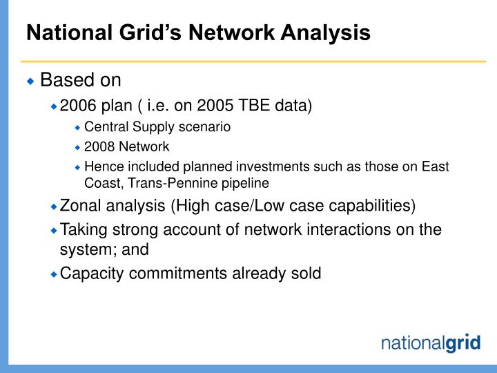 National Grid's Network Analysis
