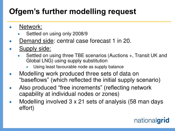 Ofgem's further modelling request