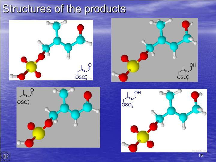 Structures of the products