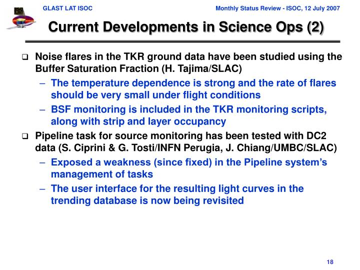 Current Developments in Science Ops (2)