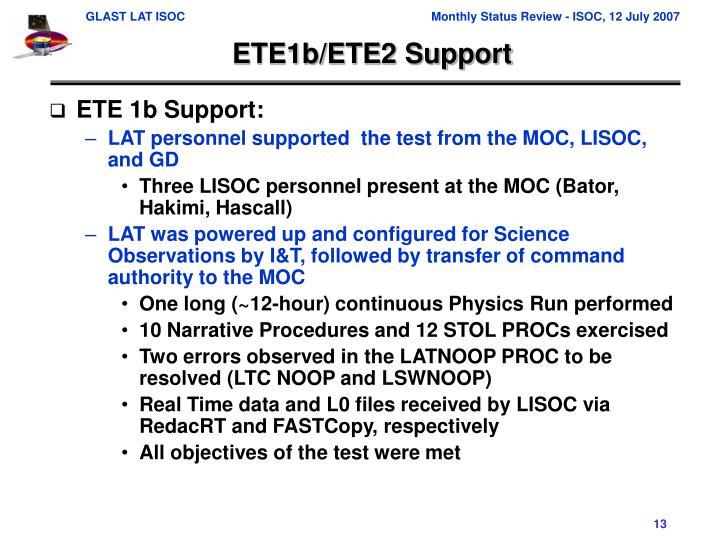 ETE1b/ETE2 Support