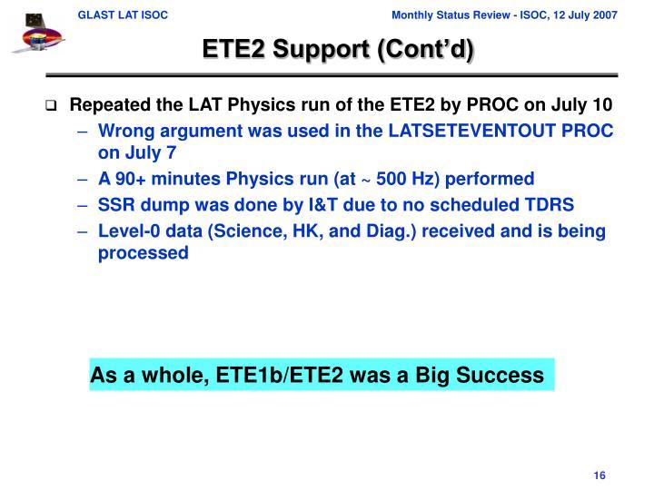 ETE2 Support (Cont'd)