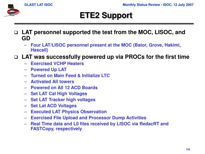 ETE2 Support