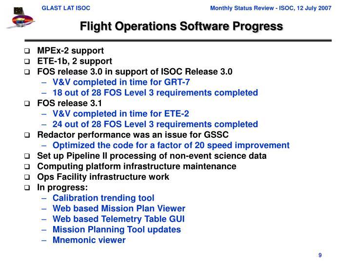 Flight Operations Software Progress