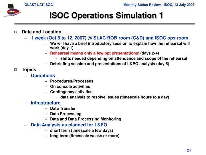 ISOC Operations Simulation 1