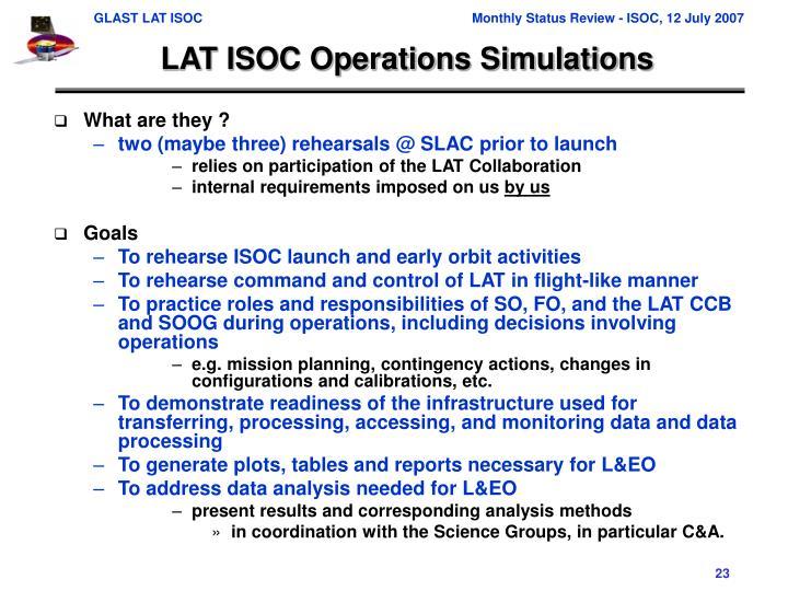 LAT ISOC Operations Simulations