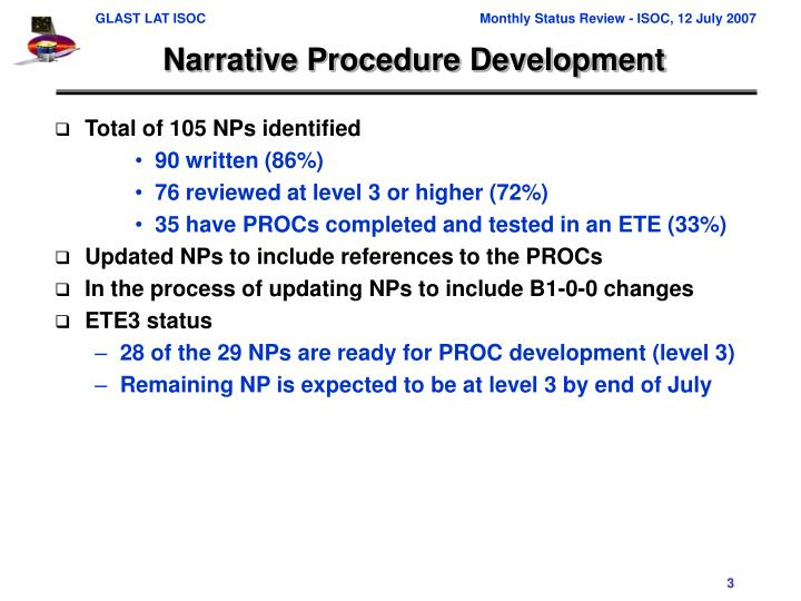 Narrative Procedure Development