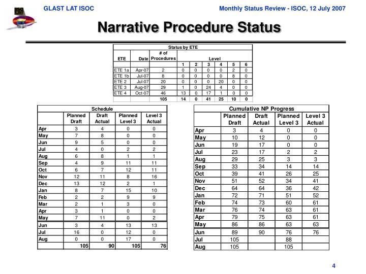 Narrative Procedure Status