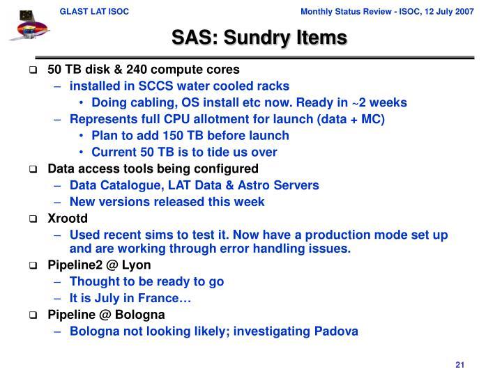SAS: Sundry Items