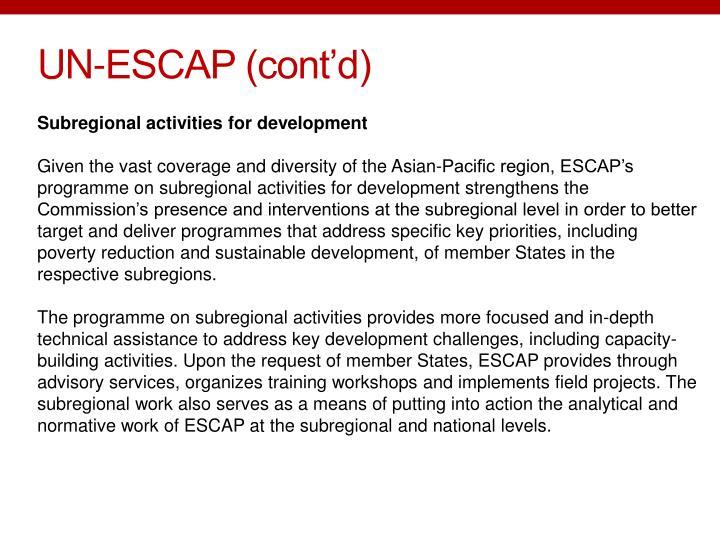 UN-ESCAP (cont'd)