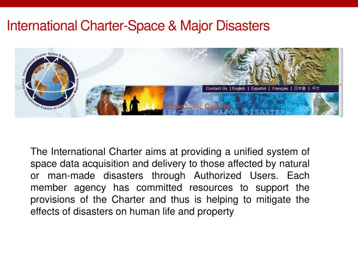 International Charter-Space & Major Disasters