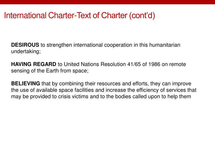 International Charter-Text of Charter (cont'd)