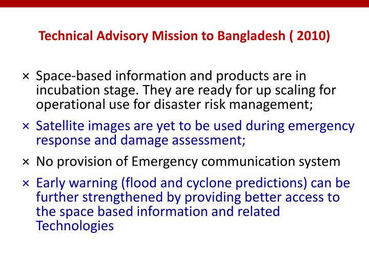 Technical Advisory Mission to Bangladesh ( 2010)