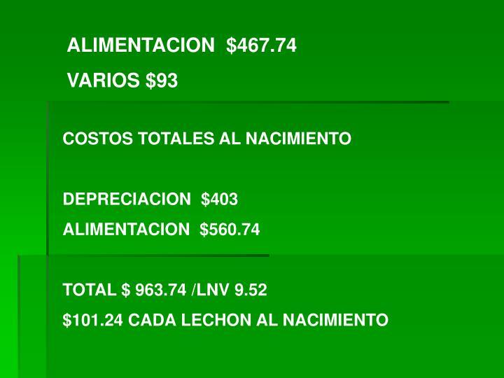 ALIMENTACION  $467.74