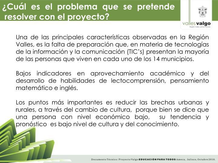 Una de las principales características observadas en la Región Valles, es la falta de preparación que, en materia de tecnologías de la información y la comunicación (TIC's) presentan la mayoría de las personas que viven en cada uno de los 14