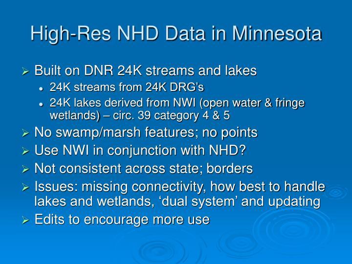 High-Res NHD Data in Minnesota