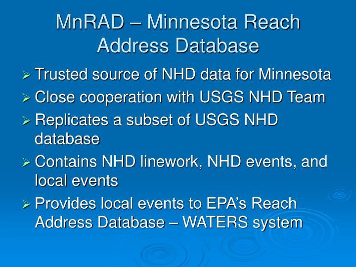 MnRAD – Minnesota Reach Address Database