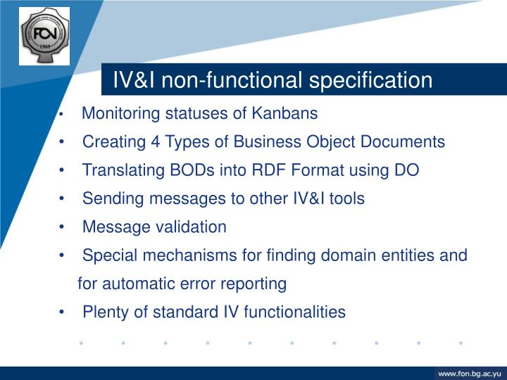 IV&I non-functional specification