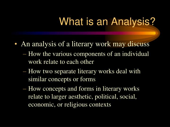 What is an Analysis?