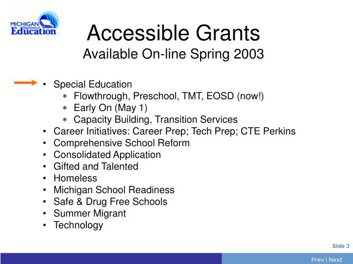 Accessible grants available on line spring 2003