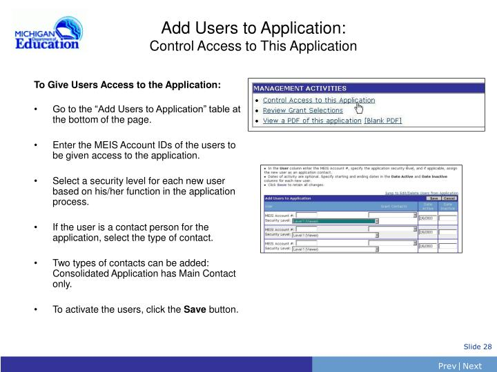 Add Users to Application:
