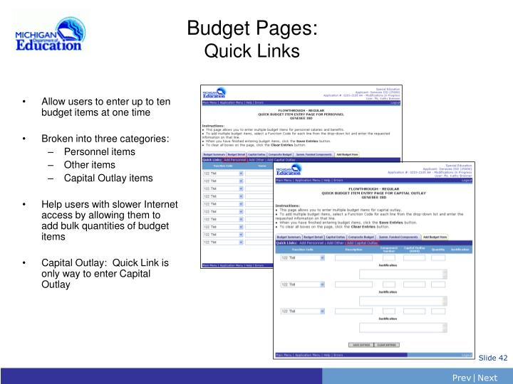 Budget Pages: