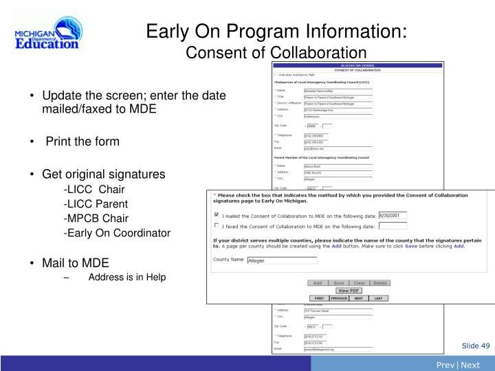 Early On Program Information: