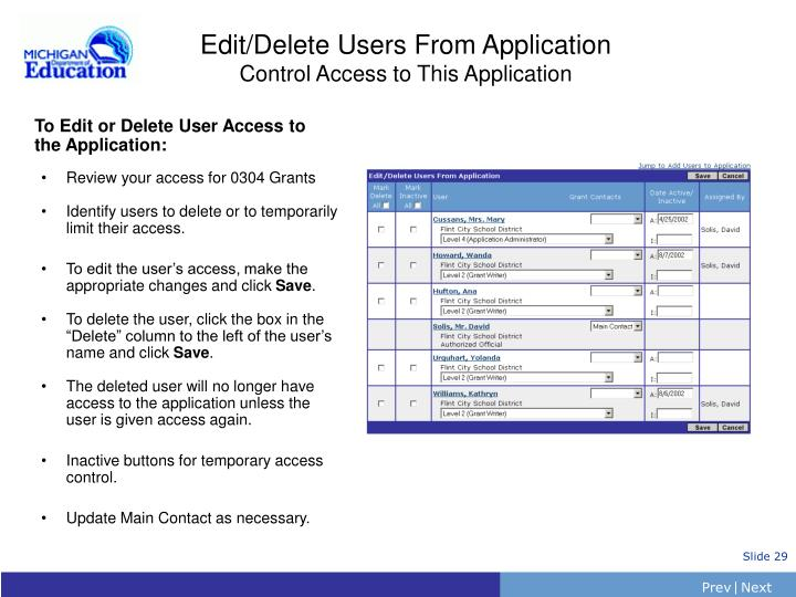 Edit/Delete Users From Application