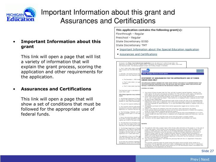 Important Information about this grant and