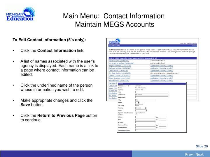 Main Menu:  Contact Information