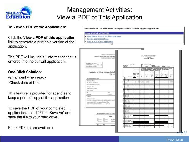 Management Activities: