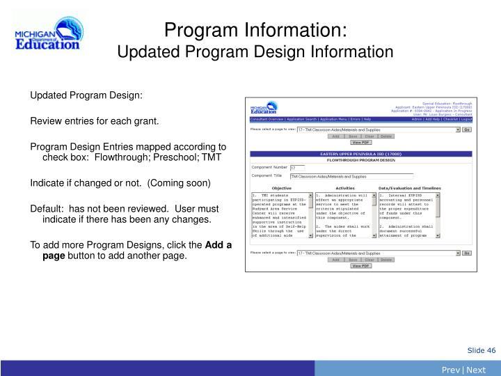 Program Information: