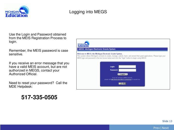 Logging into MEGS