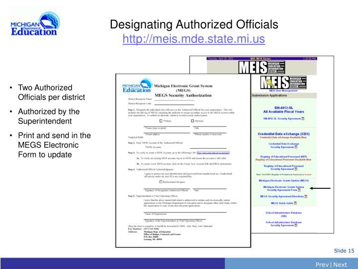 Designating Authorized Officials