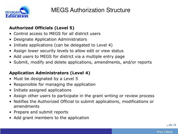MEGS Authorization Structure