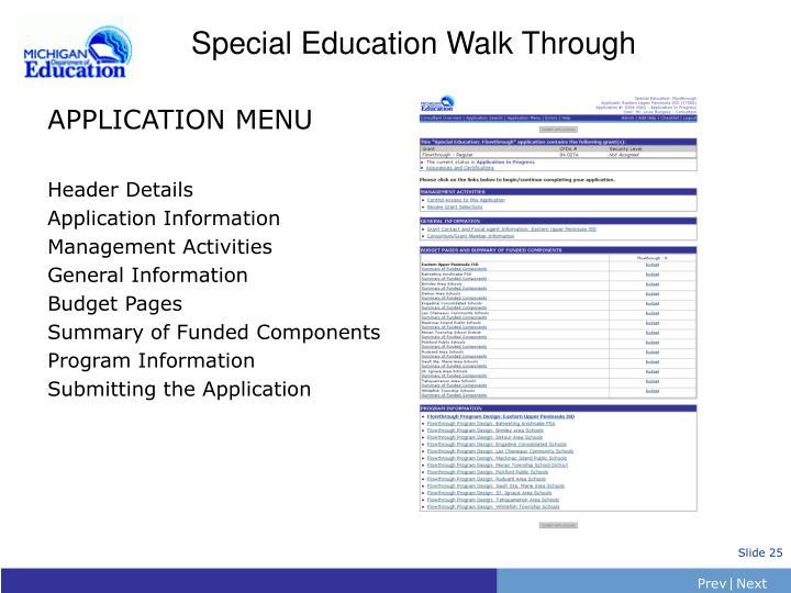 Special Education Walk Through