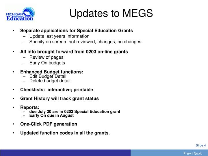 Separate applications for Special Education Grants