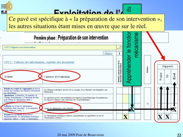 Ce pavé est spécifique à «la préparation de son intervention», les autres situations étant mises en œuvre que sur le réel.