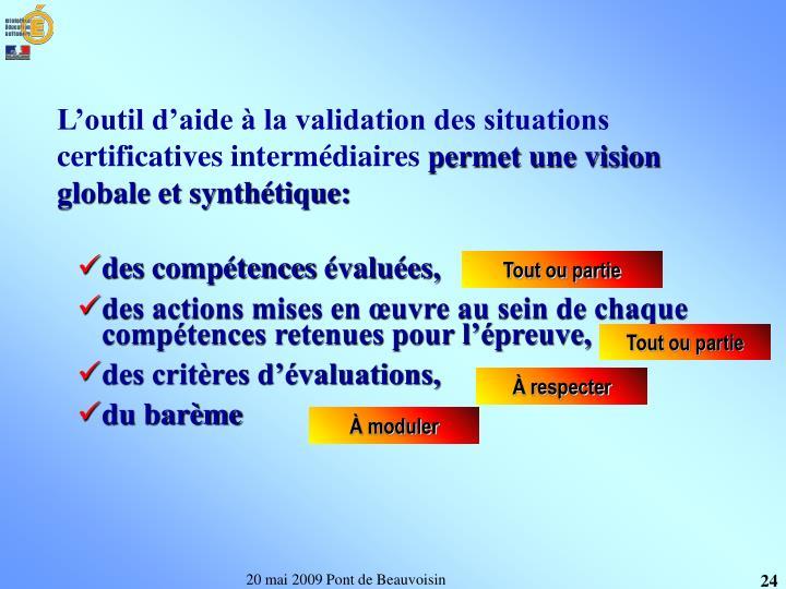 L'outil d'aide à la validation des situations certificatives intermédiaires