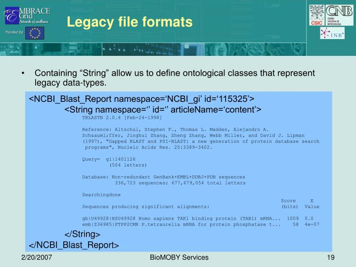 Legacy file formats