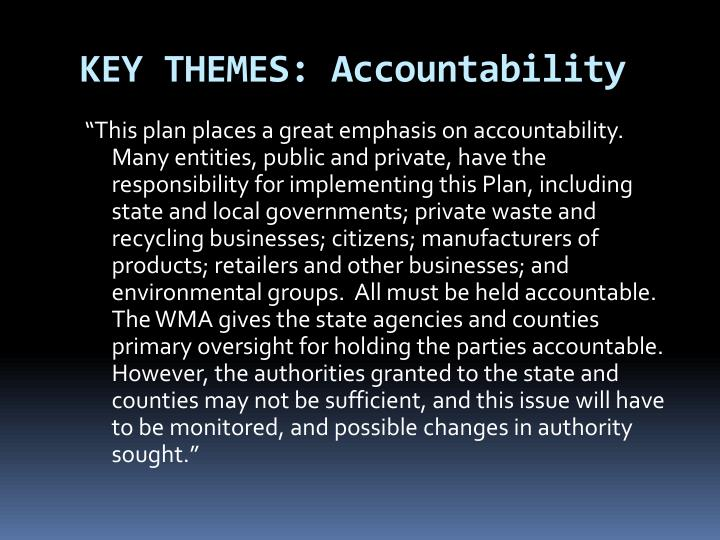 KEY THEMES: Accountability