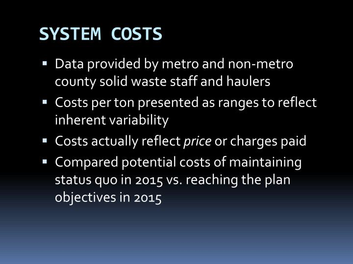 SYSTEM COSTS
