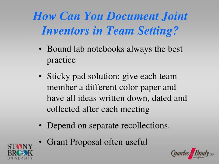 How Can You Document Joint Inventors in Team Setting?