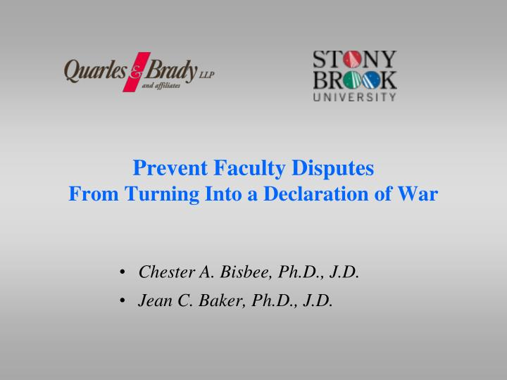 Prevent faculty disputes from turning into a declaration of war