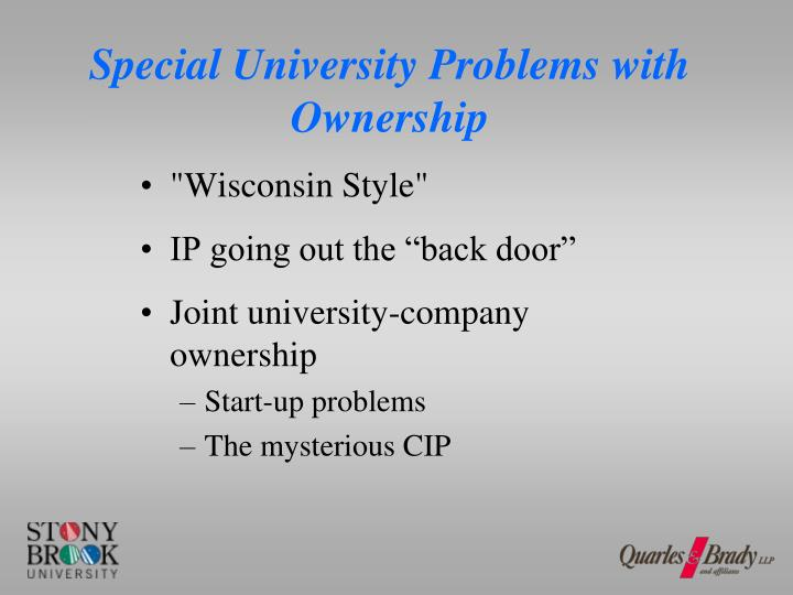Special University Problems with Ownership