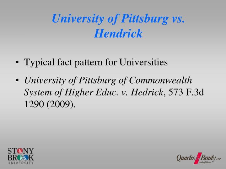 University of Pittsburg vs. Hendrick