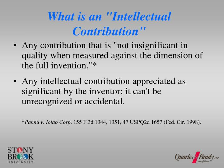 "What is an ""Intellectual Contribution"""