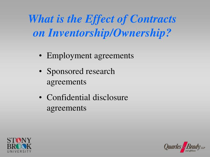 What is the Effect of Contracts on Inventorship/Ownership?