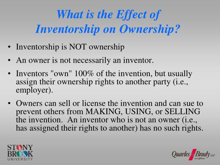 What is the Effect of Inventorship on Ownership?